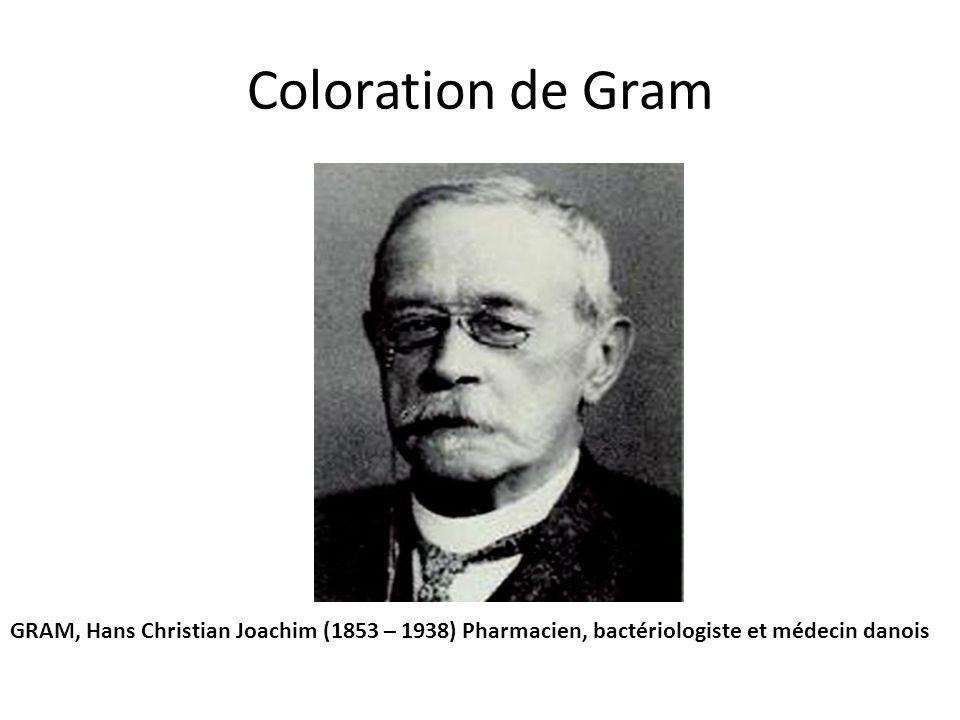 Coloration de Gram GRAM, Hans Christian Joachim (1853 – 1938) Pharmacien, bactériologiste et médecin danois.