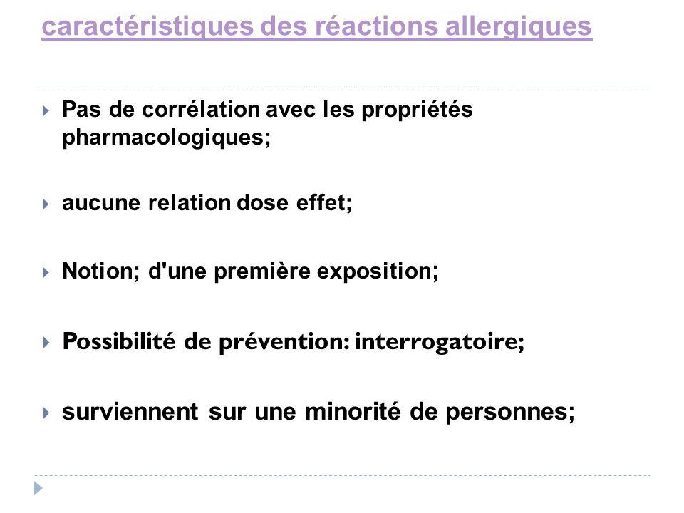 caractéristiques des réactions allergiques