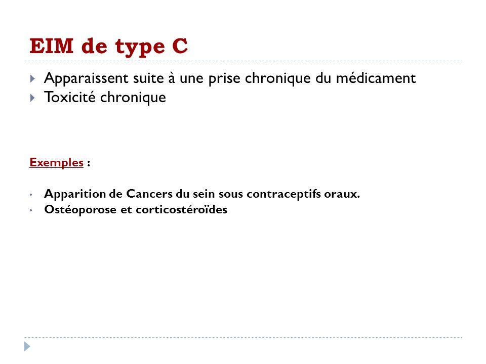 EIM de type C Apparaissent suite à une prise chronique du médicament