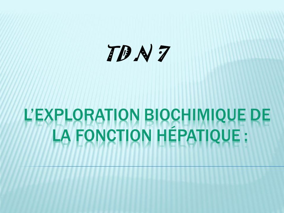 L'exploration biochimique de la fonction hépatique :