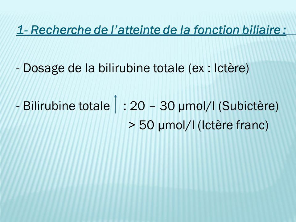 1- Recherche de l'atteinte de la fonction biliaire : - Dosage de la bilirubine totale (ex : Ictère) - Bilirubine totale : 20 – 30 µmol/l (Subictère) > 50 µmol/l (Ictère franc)