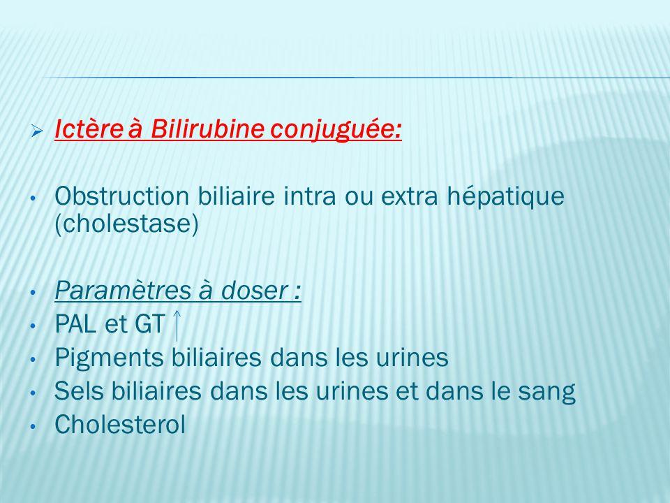 Ictère à Bilirubine conjuguée: