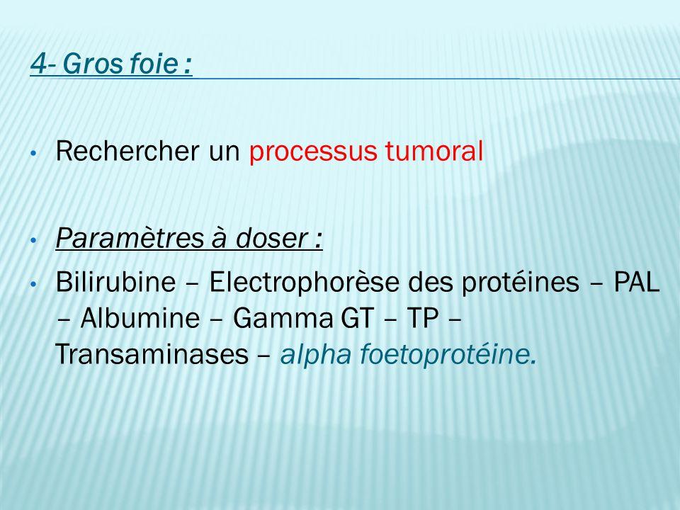 4- Gros foie : Rechercher un processus tumoral. Paramètres à doser :
