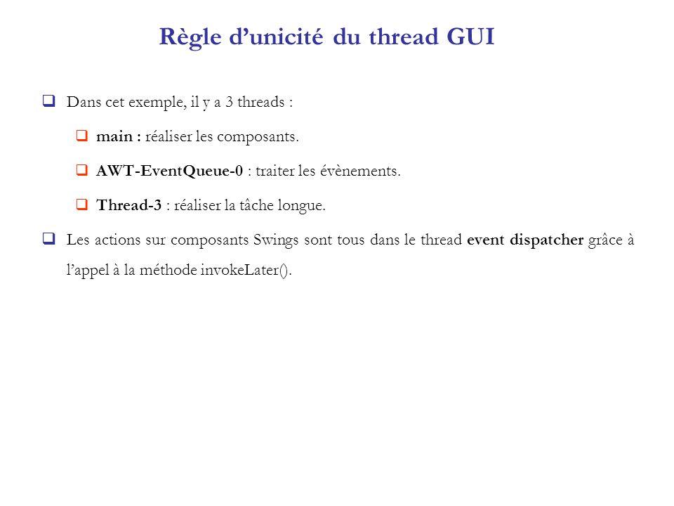 Règle d'unicité du thread GUI