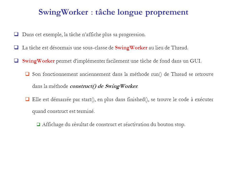 SwingWorker : tâche longue proprement