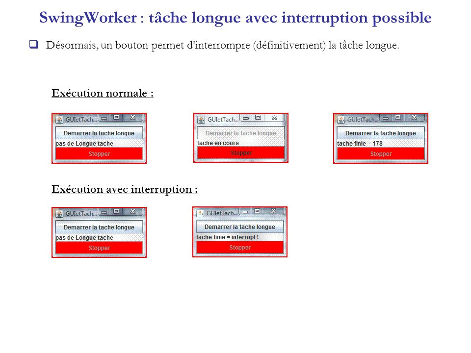 SwingWorker : tâche longue avec interruption possible