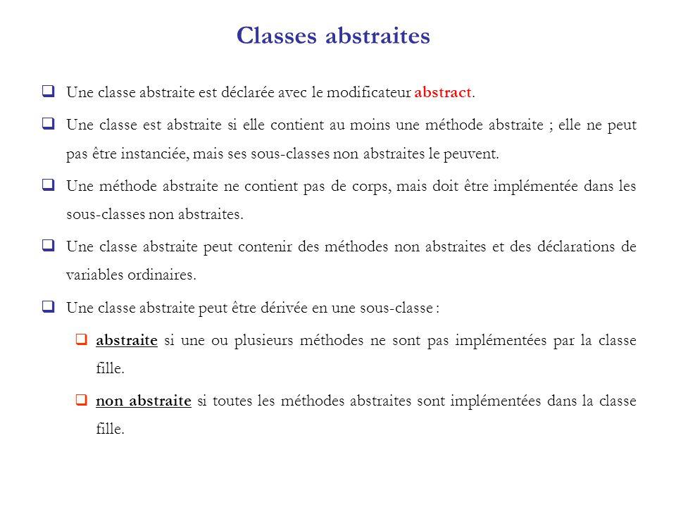 Classes abstraites Une classe abstraite est déclarée avec le modificateur abstract.