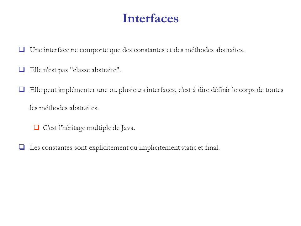 Interfaces Une interface ne comporte que des constantes et des méthodes abstraites. Elle n est pas classe abstraite .