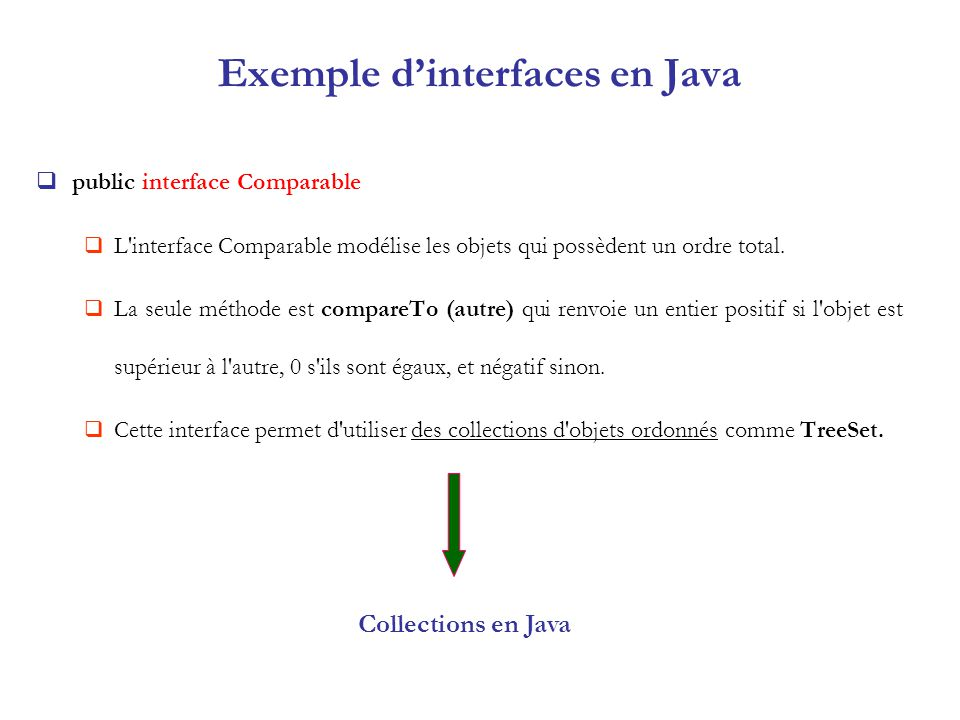 Exemple d'interfaces en Java