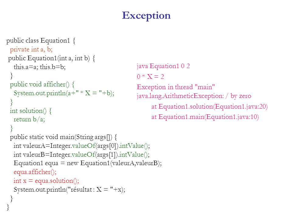 Exception public class Equation1 { private int a, b;