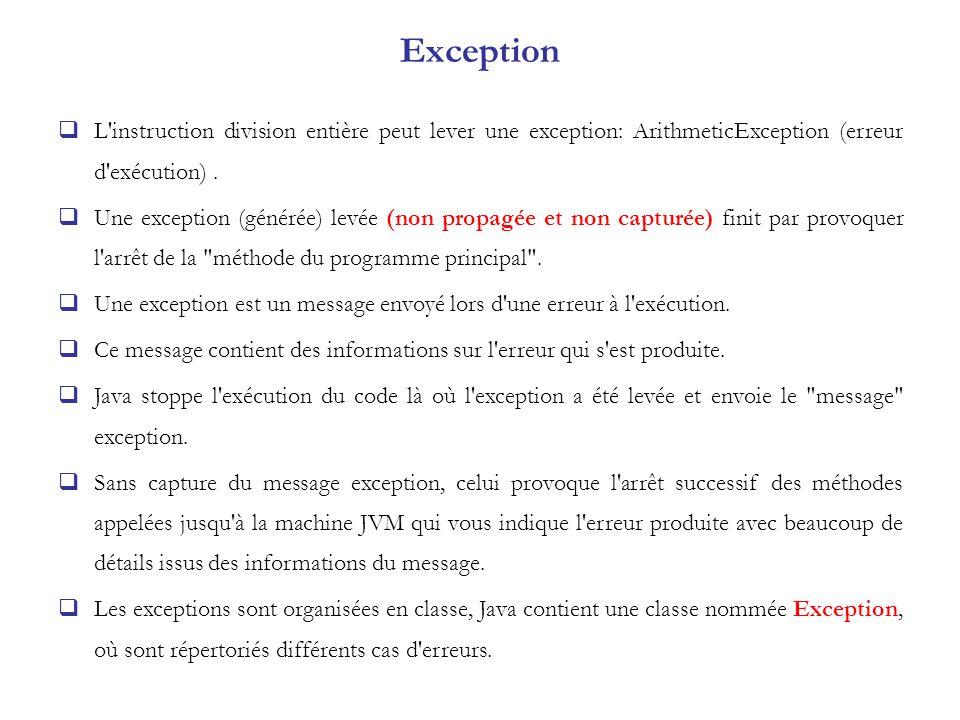 Exception L instruction division entière peut lever une exception: ArithmeticException (erreur d exécution) .