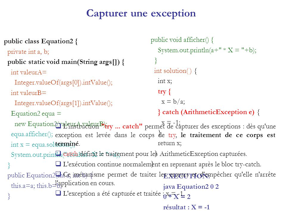 Capturer une exception