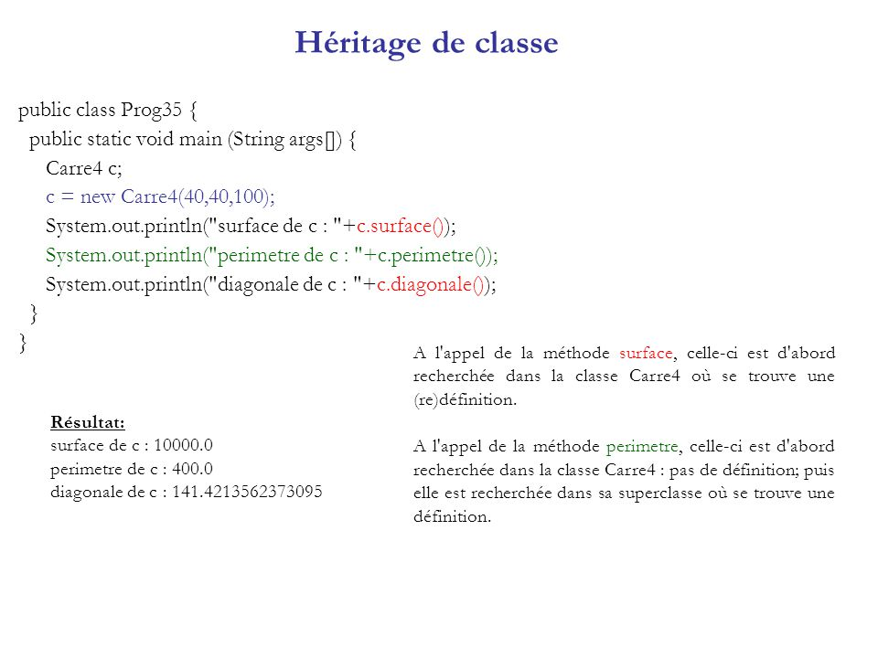 Héritage de classe public class Prog35 {