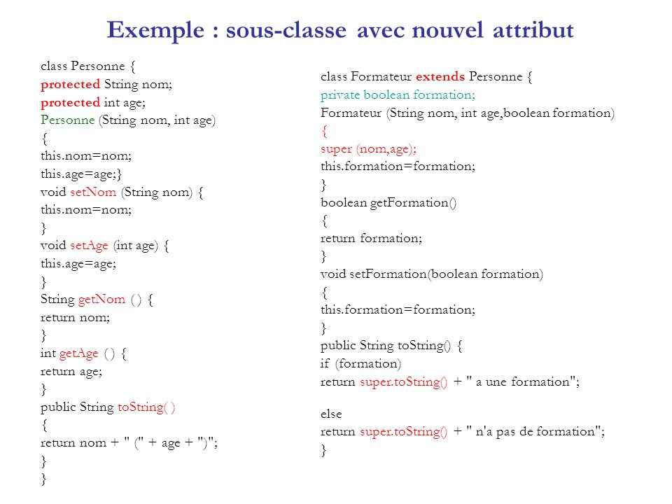Exemple : sous-classe avec nouvel attribut