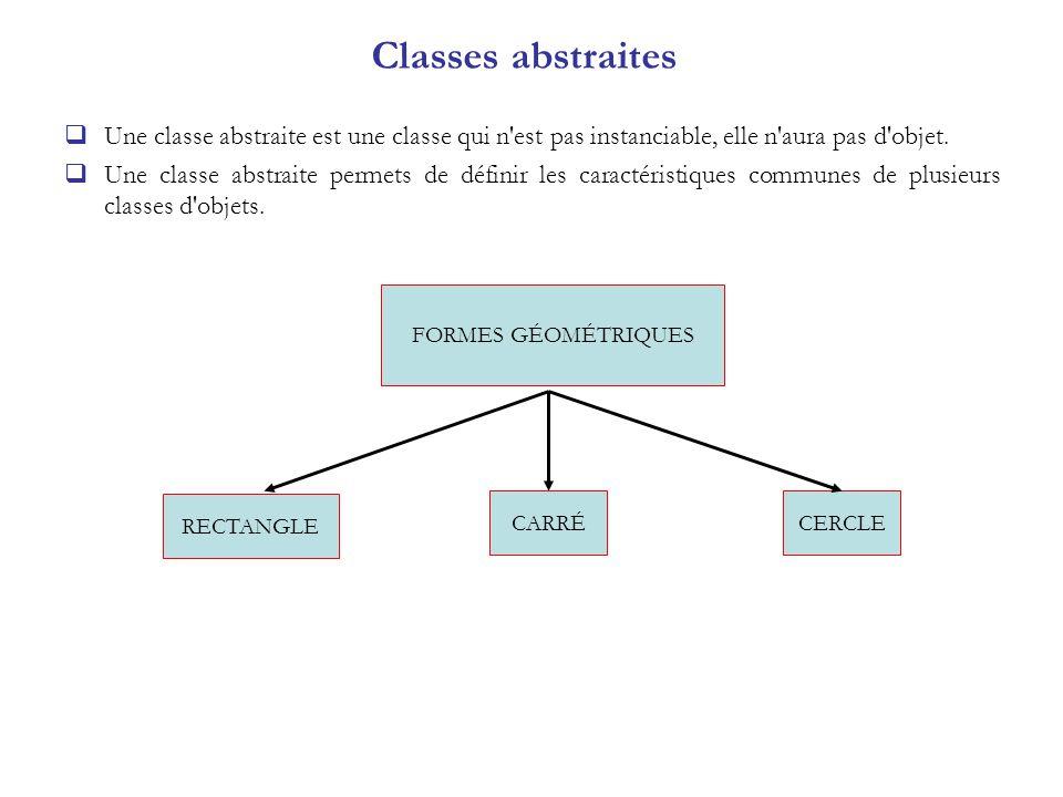Classes abstraites Une classe abstraite est une classe qui n est pas instanciable, elle n aura pas d objet.