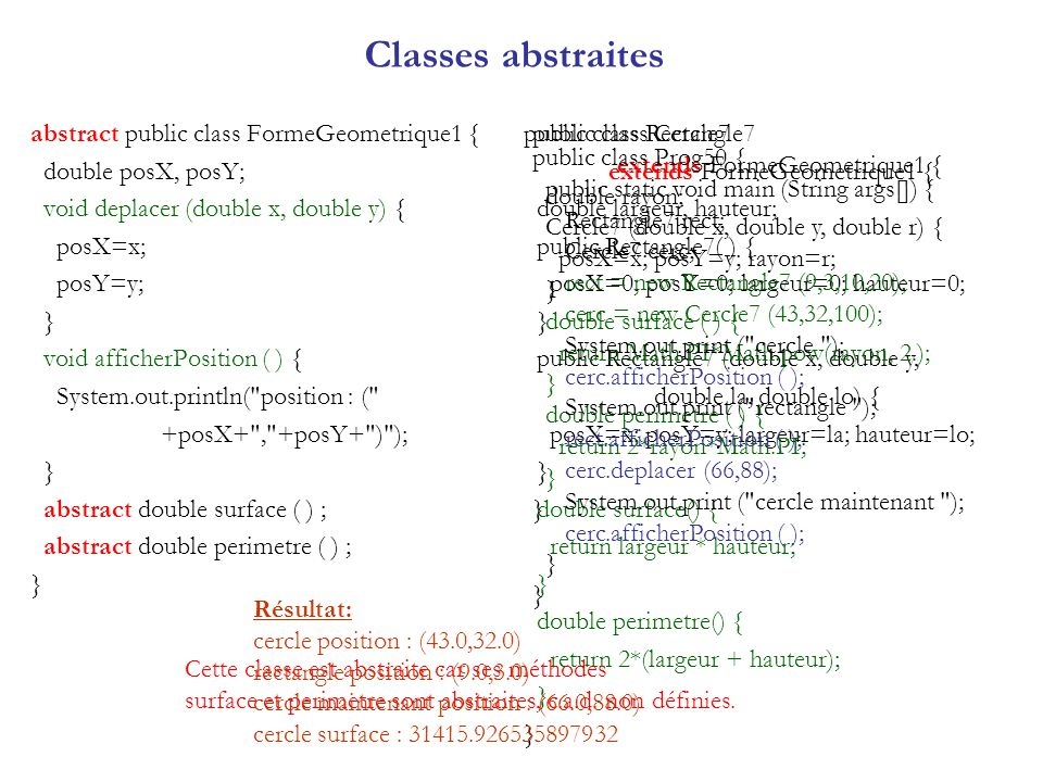 Classes abstraites abstract public class FormeGeometrique1 {