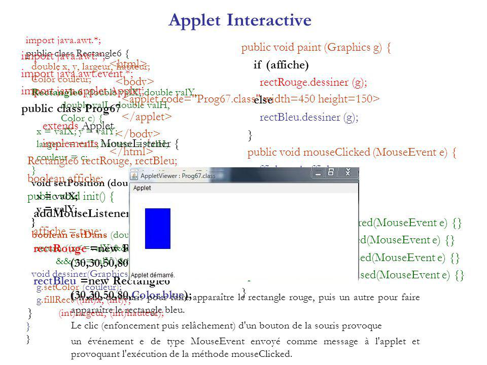 Applet Interactive public void paint (Graphics g) { if (affiche)