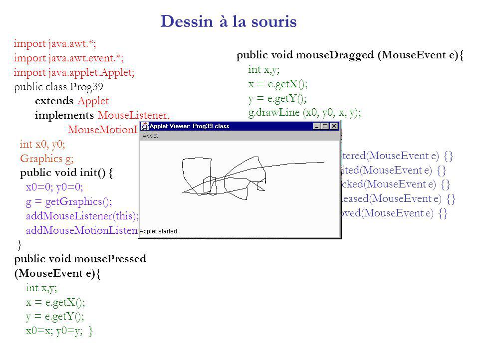 Dessin à la souris import java.awt.*; import java.awt.event.*;