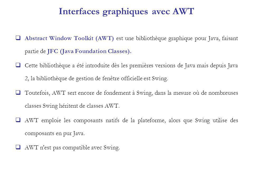 Interfaces graphiques avec AWT