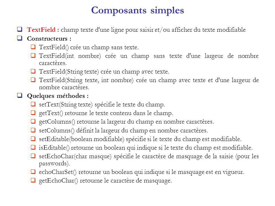 Composants simples TextField : champ texte d une ligne pour saisir et/ou afficher du texte modifiable.