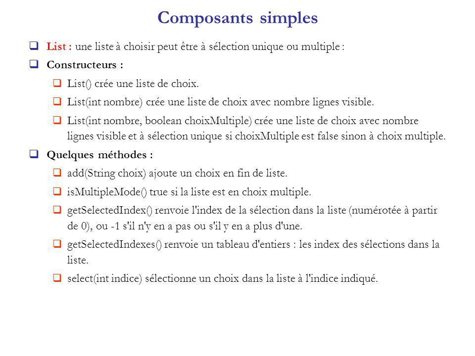 Composants simples List : une liste à choisir peut être à sélection unique ou multiple : Constructeurs :