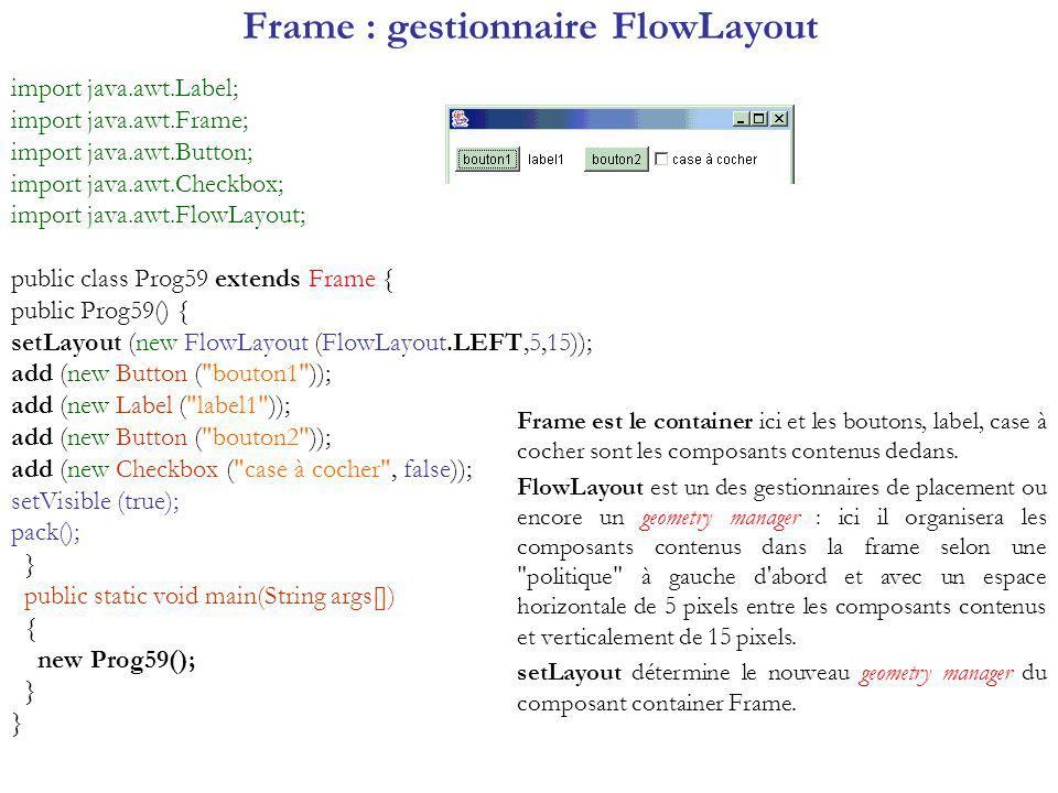 Frame : gestionnaire FlowLayout