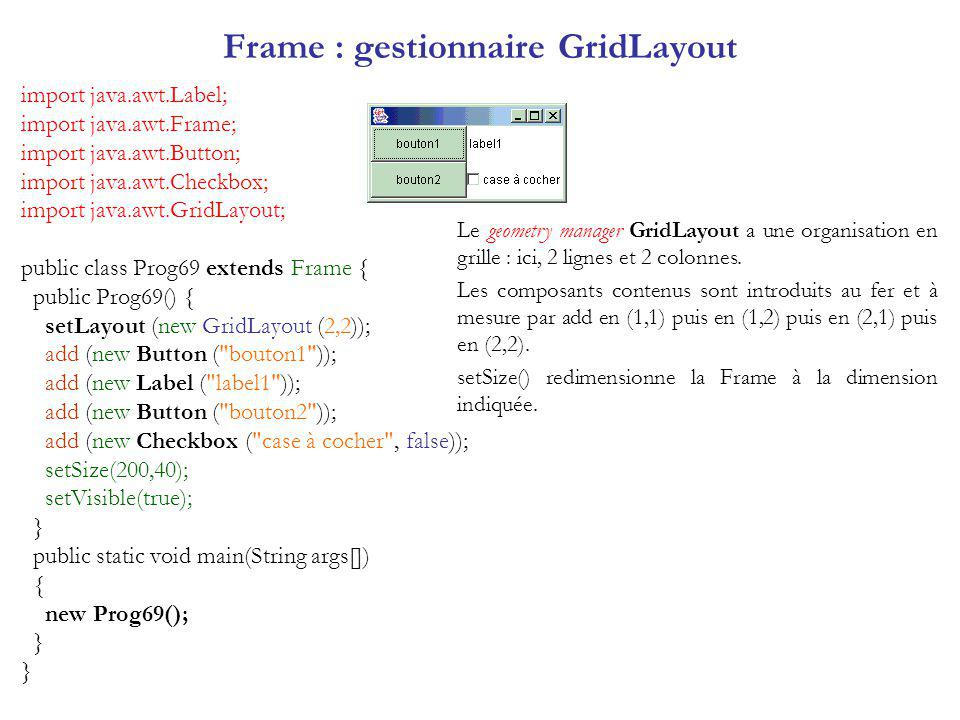 Frame : gestionnaire GridLayout