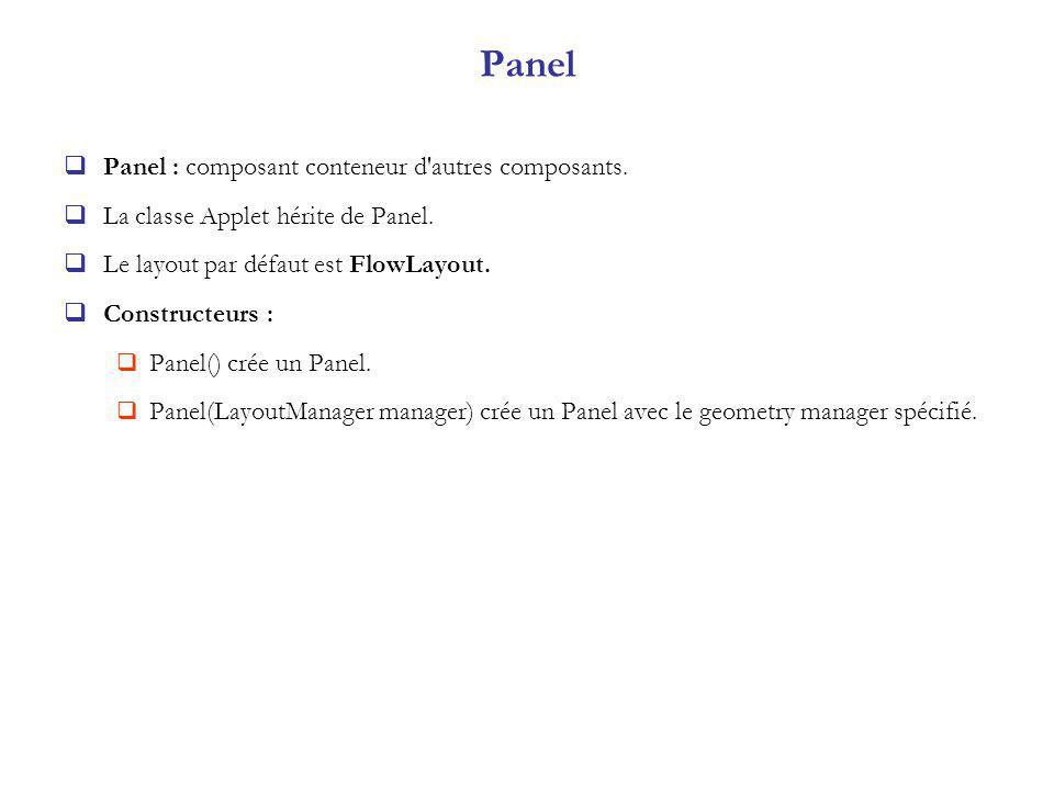 Panel Panel : composant conteneur d autres composants.