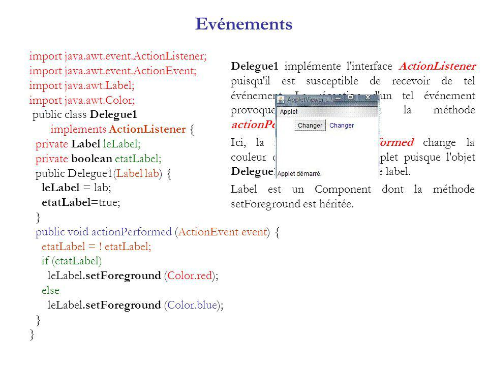Evénements import java.awt.event.ActionListener;