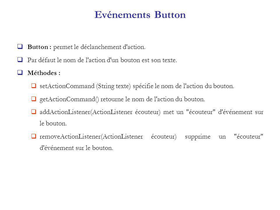 Evénements Button Button : permet le déclanchement d action.