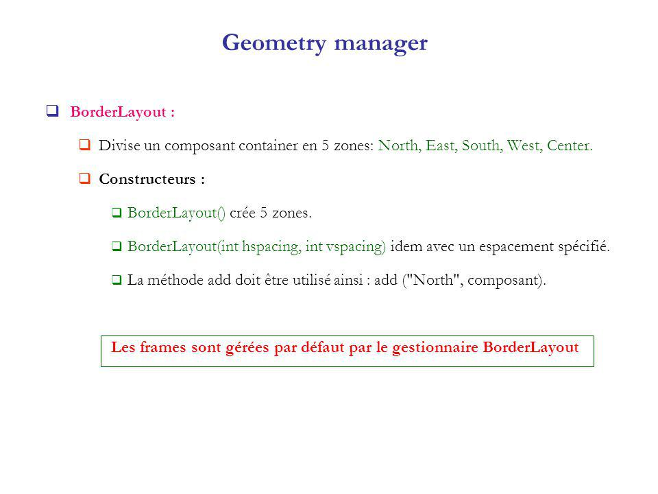 Geometry manager BorderLayout :