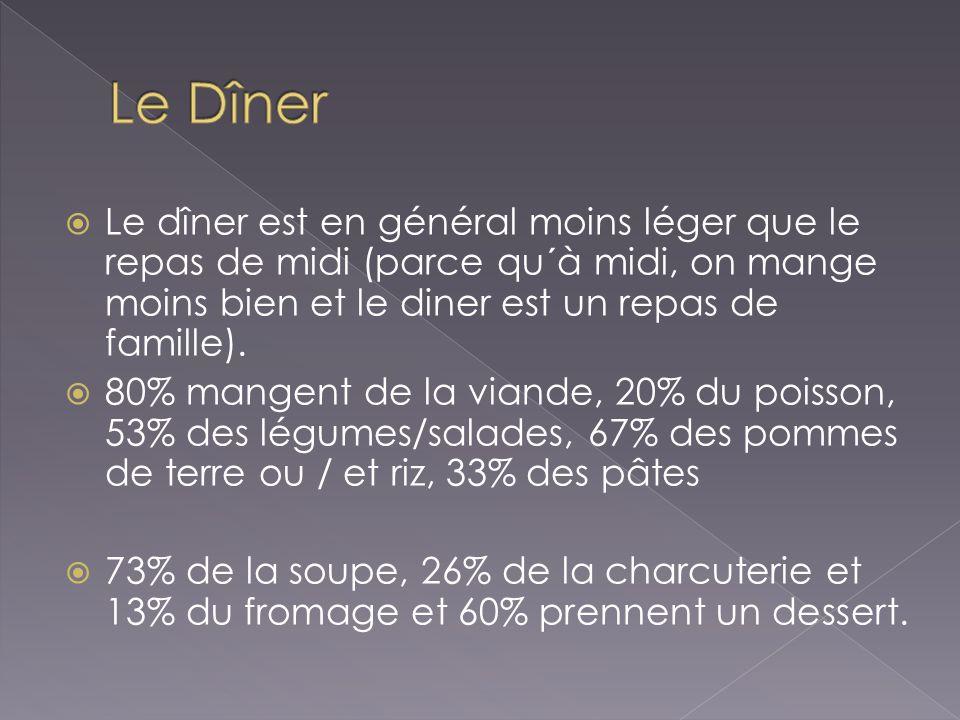 Le Dîner Le dîner est en général moins léger que le repas de midi (parce qu´à midi, on mange moins bien et le diner est un repas de famille).