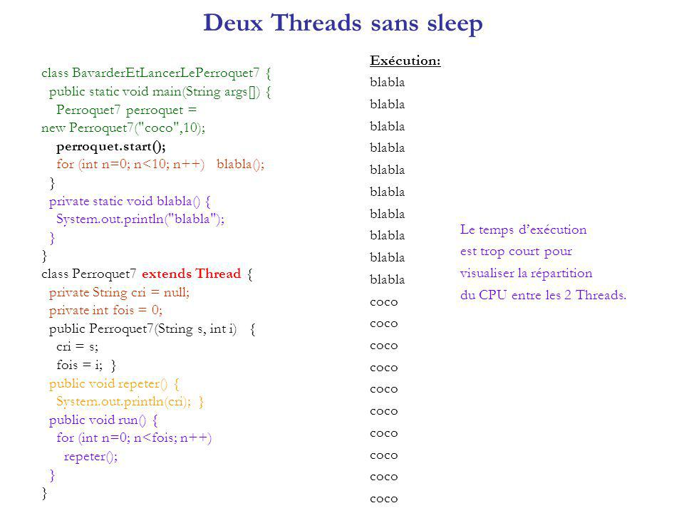 Deux Threads sans sleep