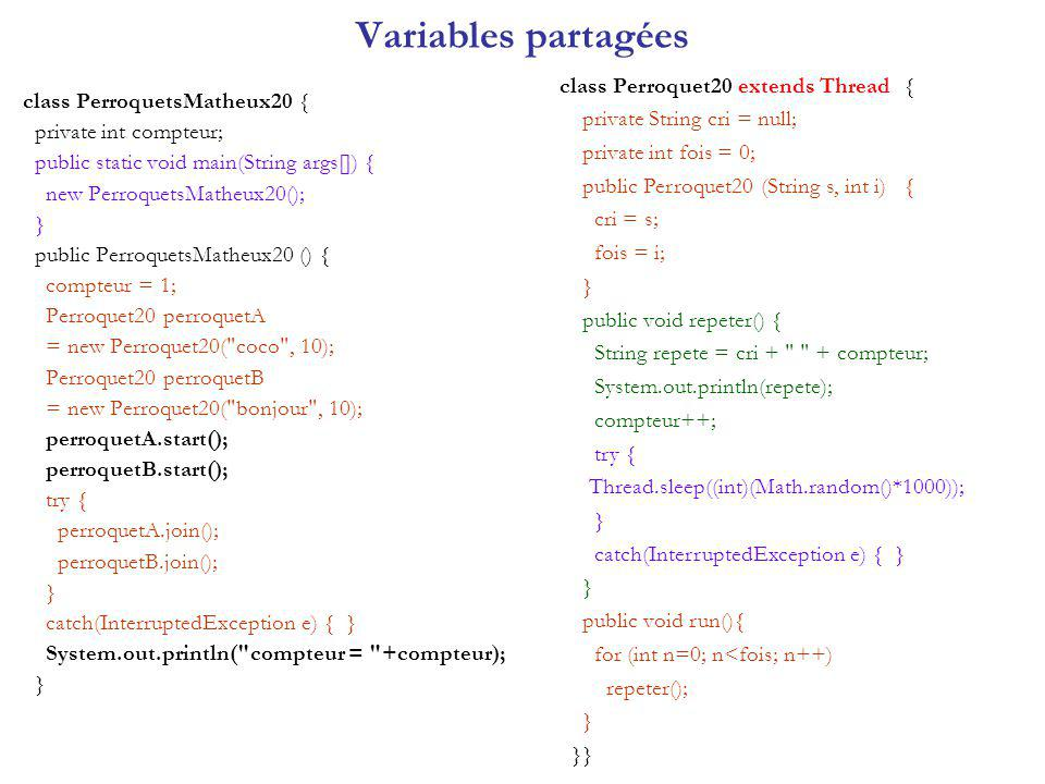 Variables partagées class Perroquet20 extends Thread {