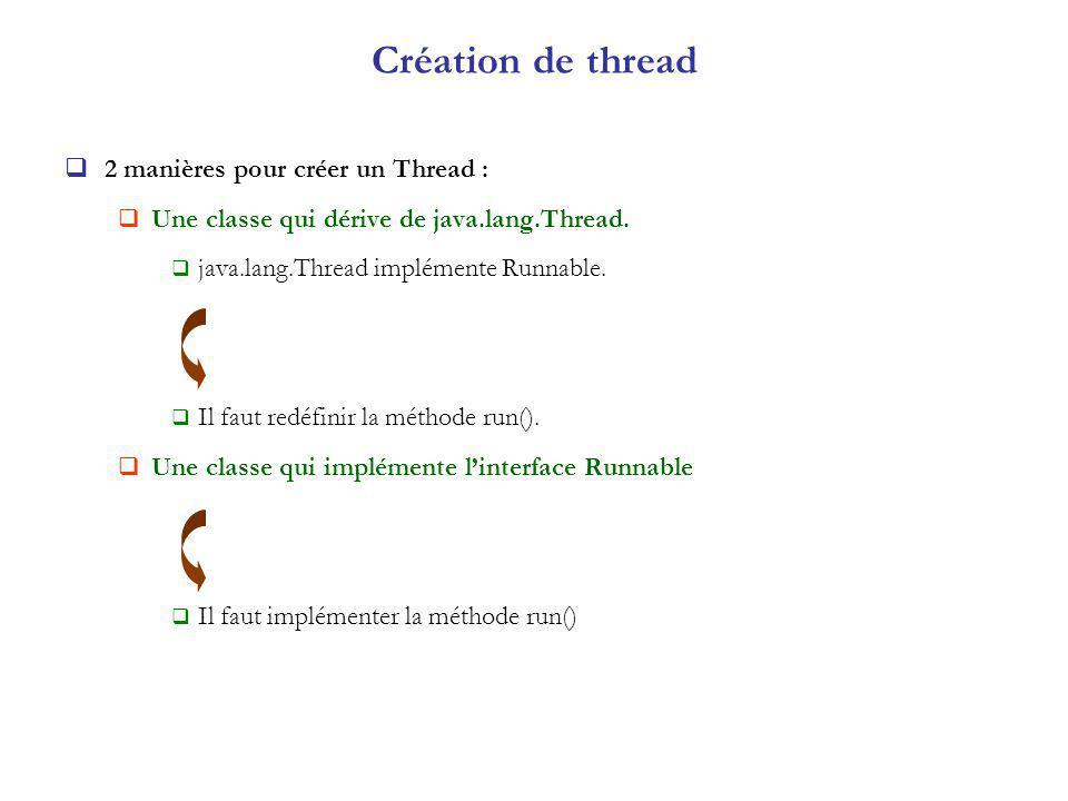 Création de thread 2 manières pour créer un Thread :