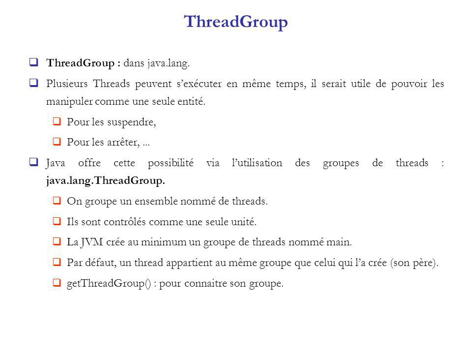 ThreadGroup ThreadGroup : dans java.lang.