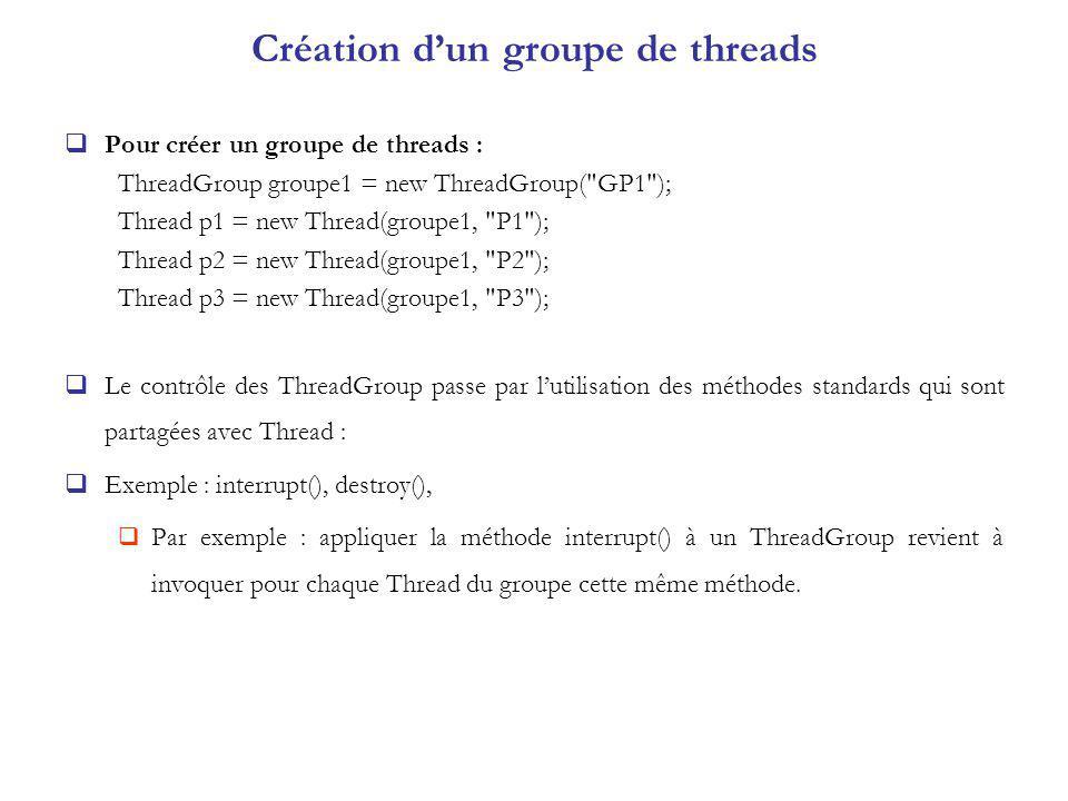 Création d'un groupe de threads