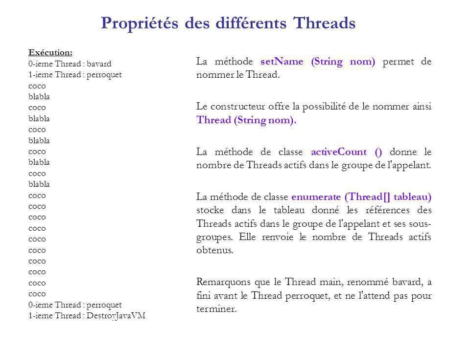 Propriétés des différents Threads