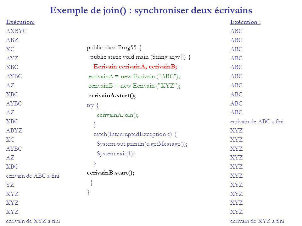 Exemple de join() : synchroniser deux écrivains