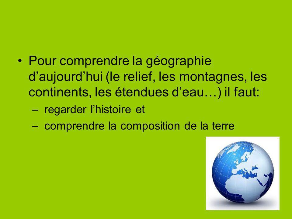 Pour comprendre la géographie d'aujourd'hui (le relief, les montagnes, les continents, les étendues d'eau…) il faut: