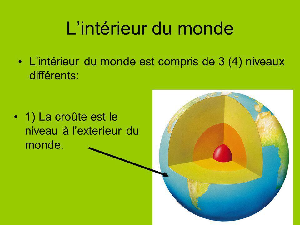 L'intérieur du monde L'intérieur du monde est compris de 3 (4) niveaux différents: 1) La croûte est le niveau à l'exterieur du monde.