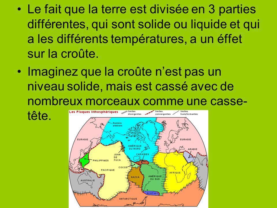 Le fait que la terre est divisée en 3 parties différentes, qui sont solide ou liquide et qui a les différents températures, a un éffet sur la croûte.