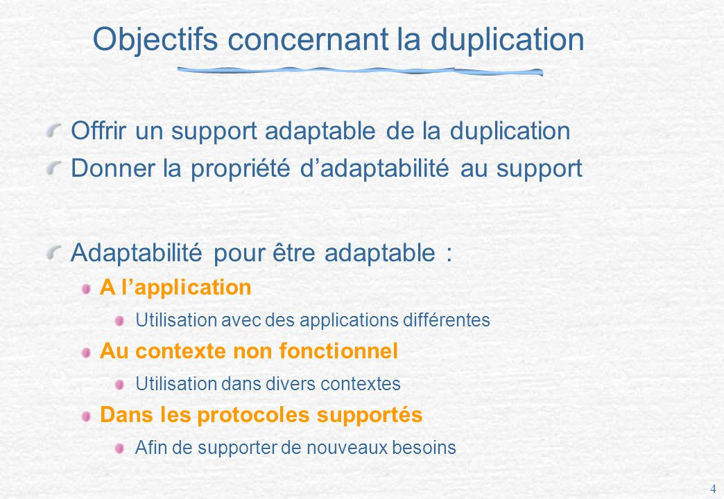 Objectifs concernant la duplication