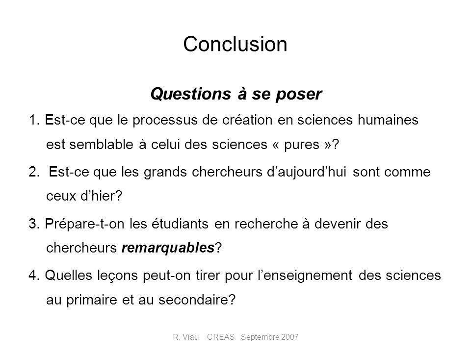 Conclusion Questions à se poser