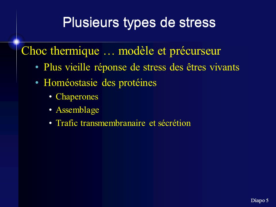 Plusieurs types de stress