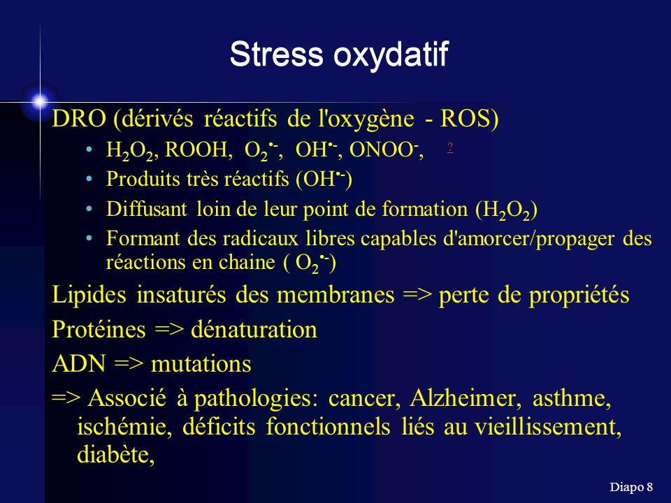 Stress oxydatif DRO (dérivés réactifs de l oxygène - ROS)