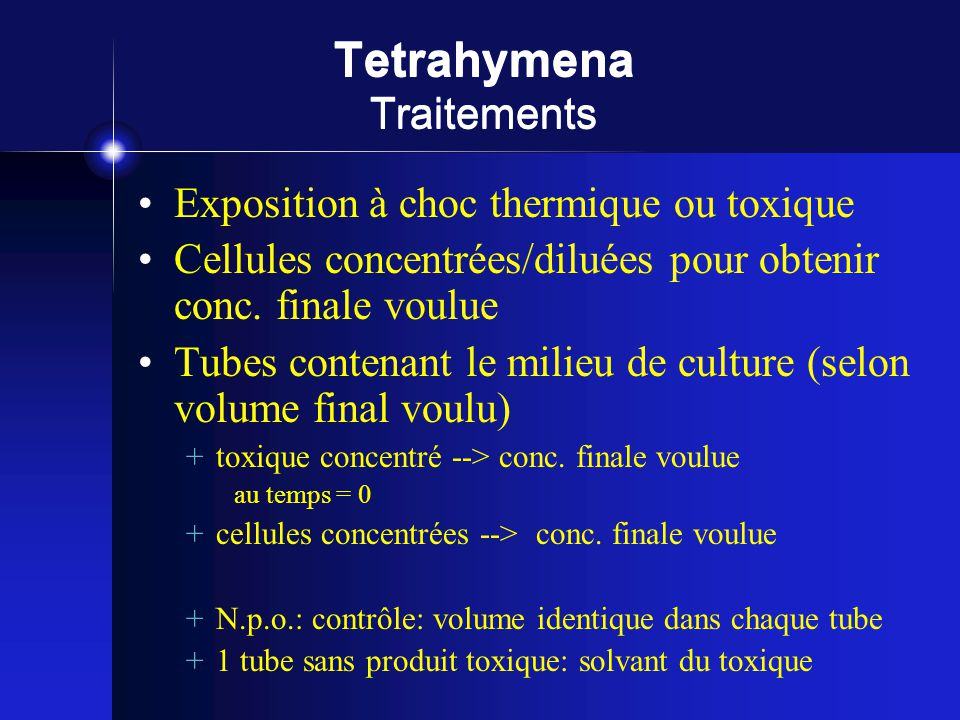 Tetrahymena Traitements