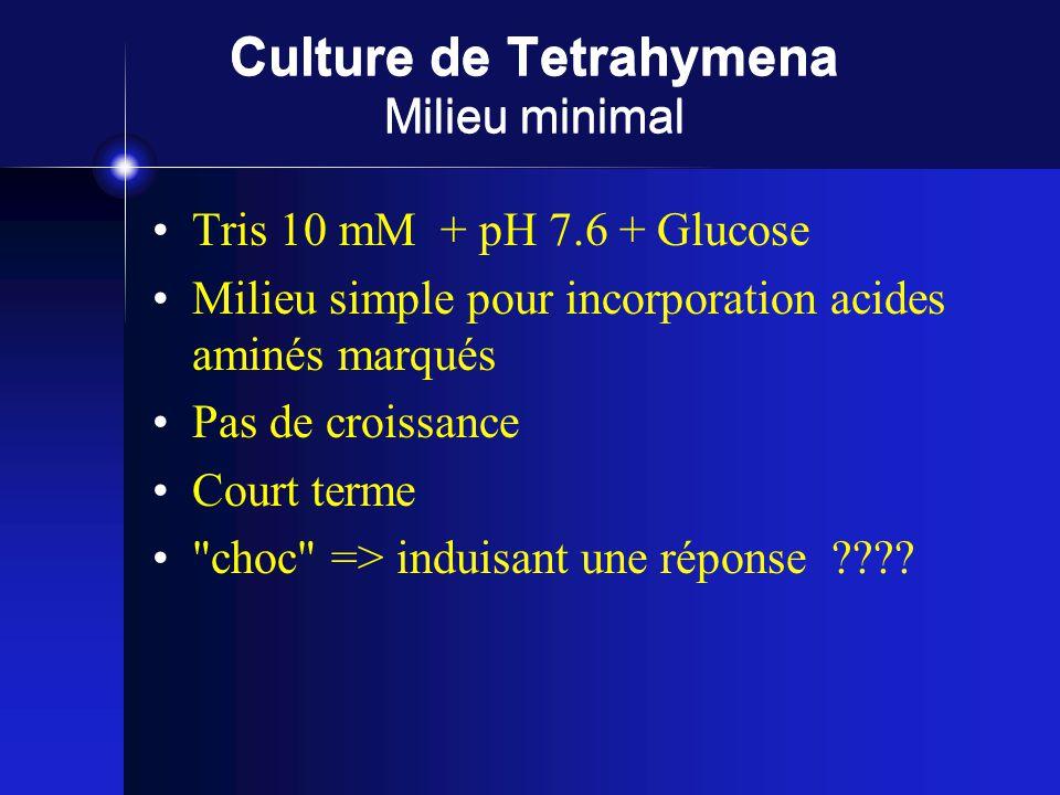 Culture de Tetrahymena Milieu minimal