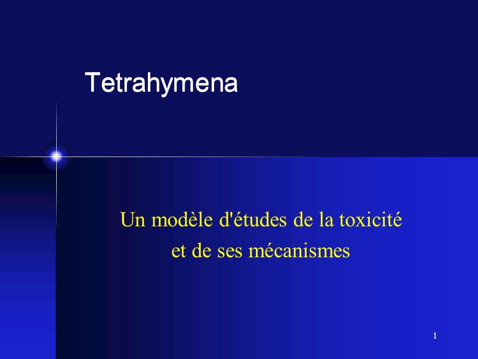 Un modèle d études de la toxicité et de ses mécanismes