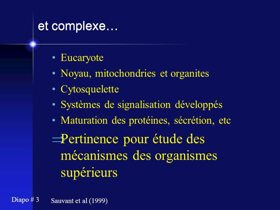 Pertinence pour étude des mécanismes des organismes supérieurs